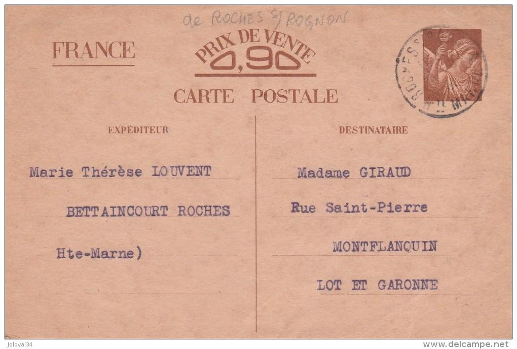 Entier Postal Carte Sans Valeur CP2 Iris 14/8/1941 De Roches Sur Rognon Haute Marne à Monflanquin Lot Et Garonne - Ganzsachen