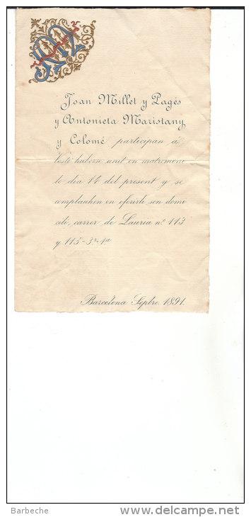 BARCELONE .Septre 1891  Joan Millet Y Pages..... - Otros