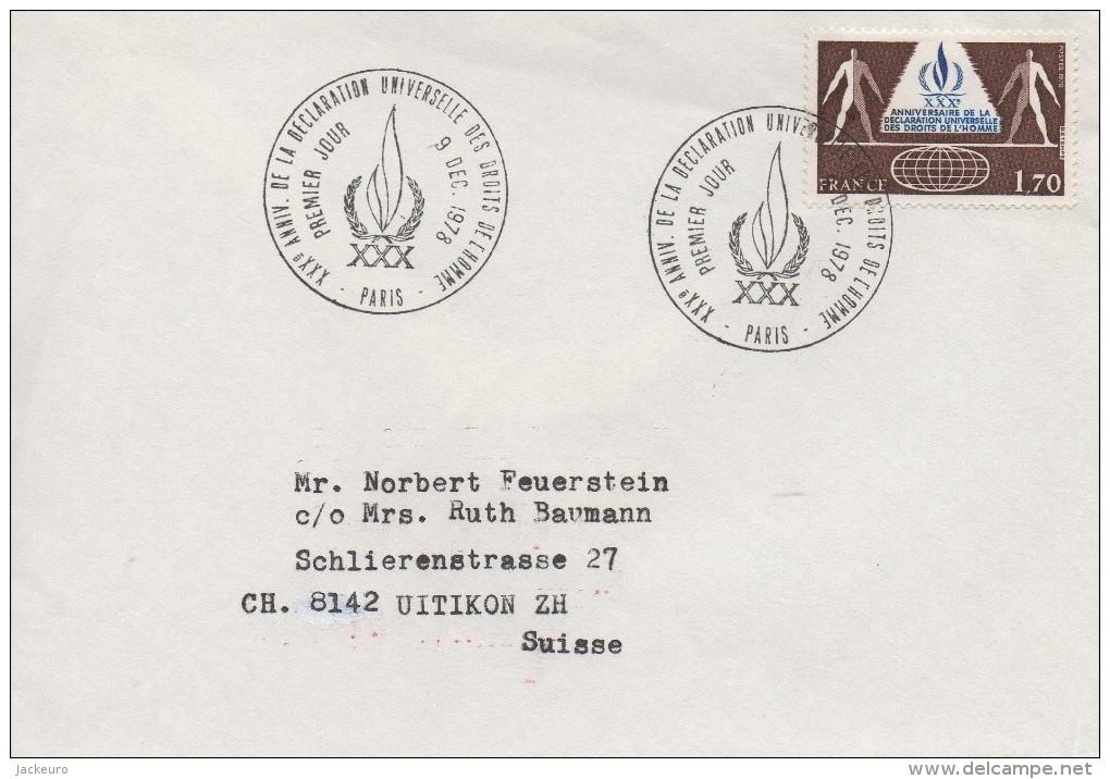 749  Droits De L´Homme - Menschenrechte - Human Rights - FDC 1978  TTB - Poststempel (Briefe)