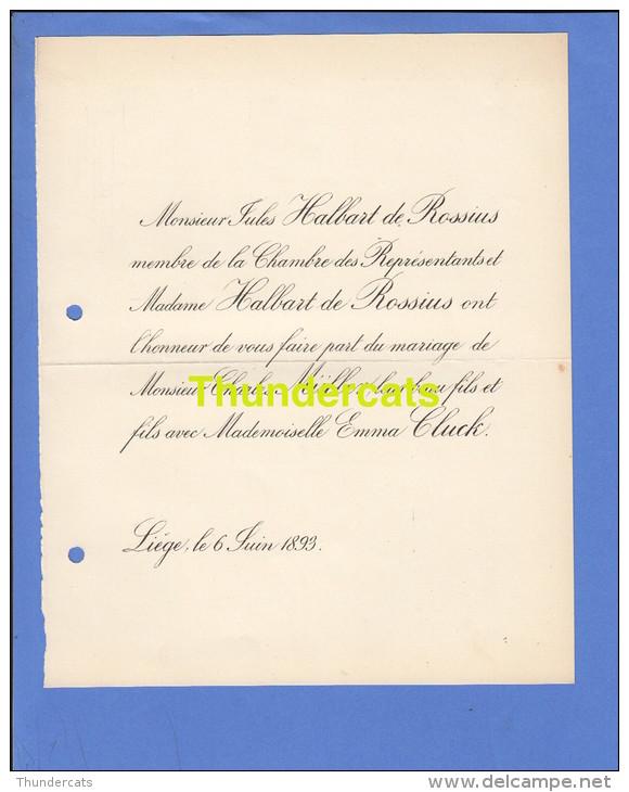 FAIRE PART MARIAGE 1893 JULES HALBART DE ROSSIUS CHARLES MULLER EMMA CLUCK LIEGE - Mariage