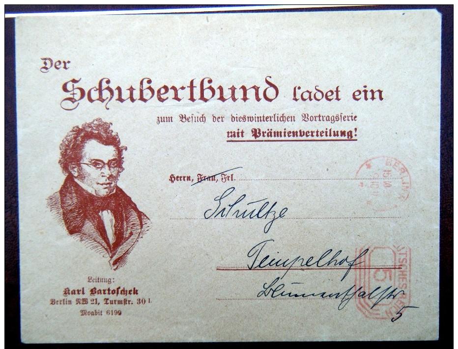£££ ALLEMAGNE - Umschlag Der Schubertbund - BERLIN - 15 / 10 / 1925 - Schubert - Musique - Music