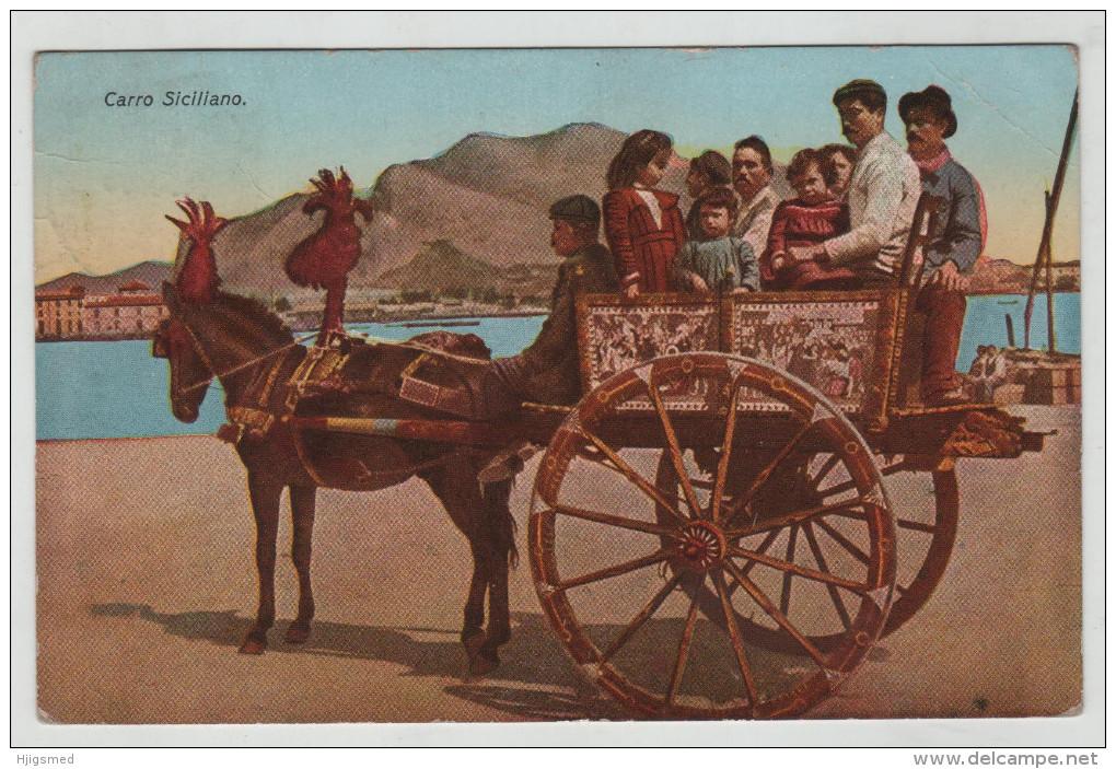 Italy Italia Italia Sicilia Carro Siciliano Horse Costume Stamp Post Card Postkarte Karte Carte Postale POSTCARD - Unclassified