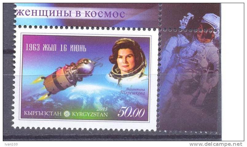 2013. Kyrgyzstan, Valentina Tereshcova, 50y Of First Flight, 1v Perforated,  Mint/** - Raumfahrt