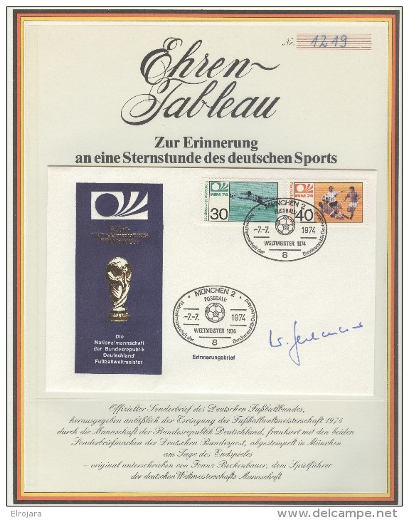 GERMANY Special Sheet With Cover And Signature Of Franz Beckenbauer - 1974 – Germania Ovest