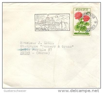 MON-L12 - MONACO N° 518 Géranium Sur Lettre Pour Les Champagnes Pommery Reims - Végétaux