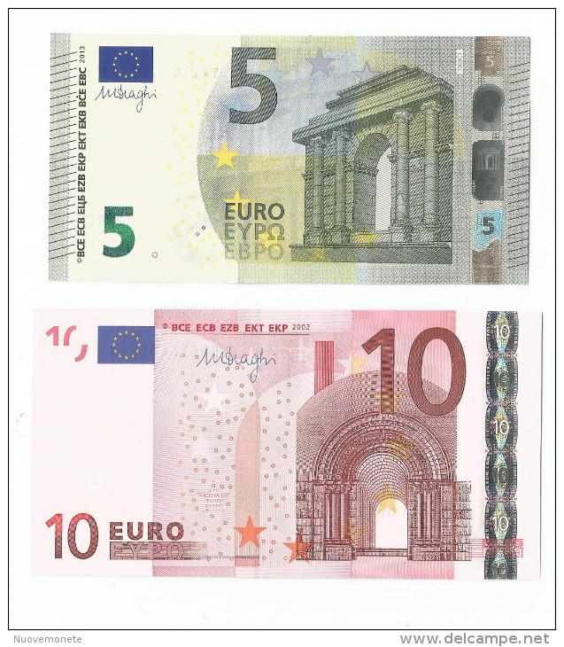 BANCONOTE DA 5 Euro TC T003 E 10 EURO T K007 IRLANDA  DRAGHI UNC RARE - CATALOGO 32 Euro - EURO