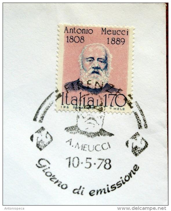 ITALIA 1978-ANTONIO MEUCCI    FDC VIAGGIATA PER SAN MARINO - 6. 1946-.. Republik