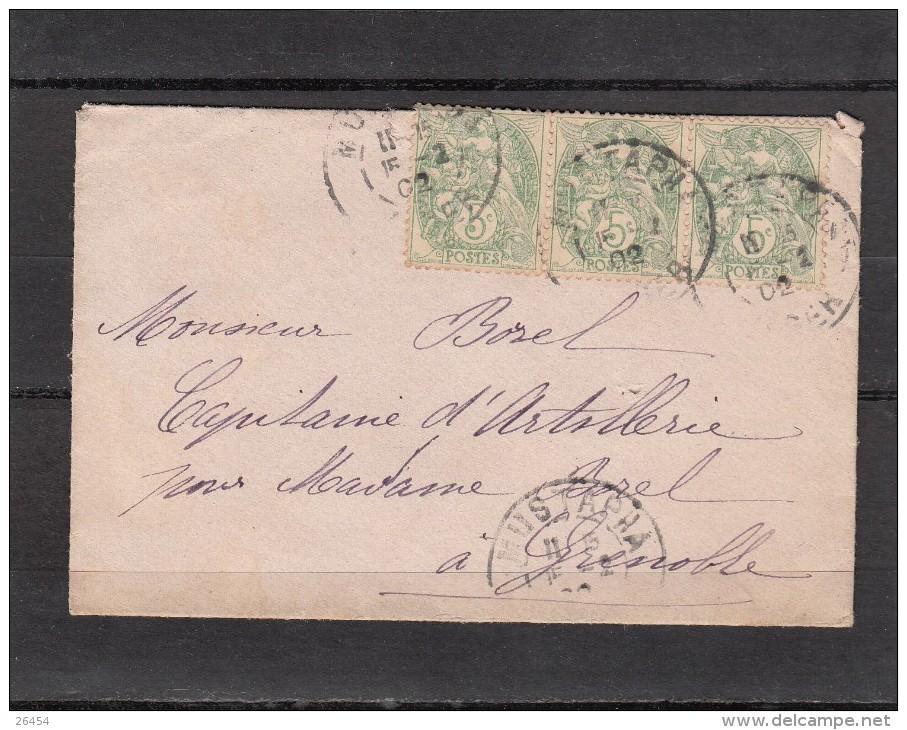 """Militaria     Lettre De MUSTAPHA Algerie    Annee 1902  Pour Un """" CAPITAINE D ARTILLERIE """" A GRENOBLE  3timbres 5c - 1900-29 Blanc"""
