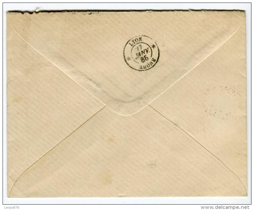 """Oblitération De """" St Etienne Quartier De La Badouillere """" Sur Enveloppe Pour Lyon En 1885   Référence 414 - 1877-1920: Période Semi Moderne"""