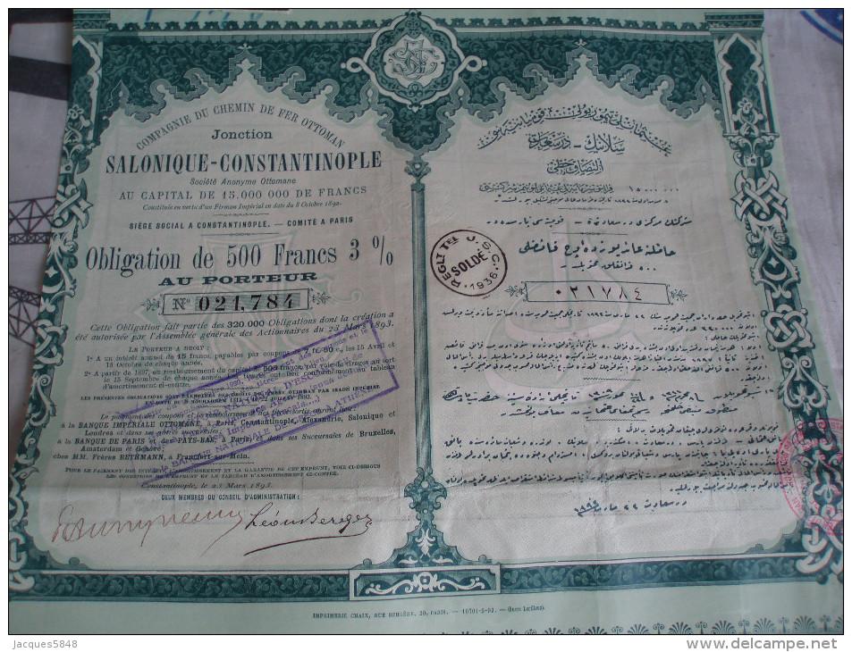 Actions ) 500 Francs  3% - Compagnie Du Chemin De Fer Ottoman - Salonique - Constantinople - Chemin De Fer & Tramway