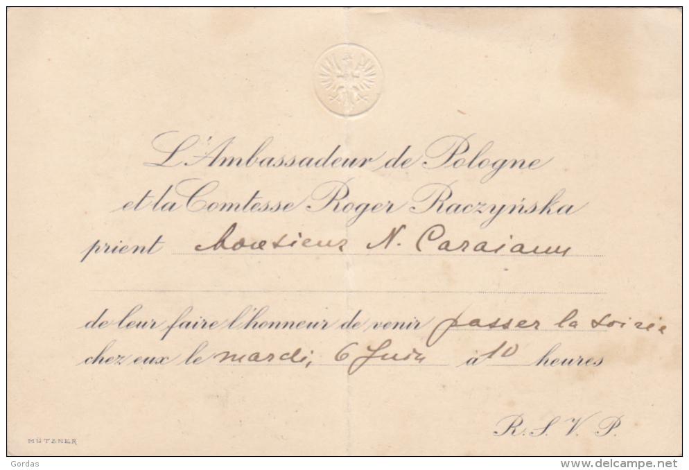 Invitation - L'Ambassadeur De Pologne - Announcements