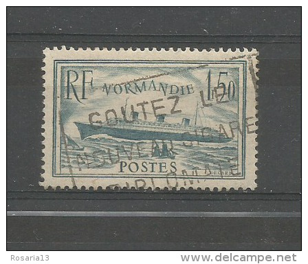 FRANCE 1935, Piroscafo NORMANDIE, 1,50 FRANCHI, GREEN Bleu Utilisé, CAT. UNIFIED. N ° 300a, CERTIFICAT, RARE - Usati