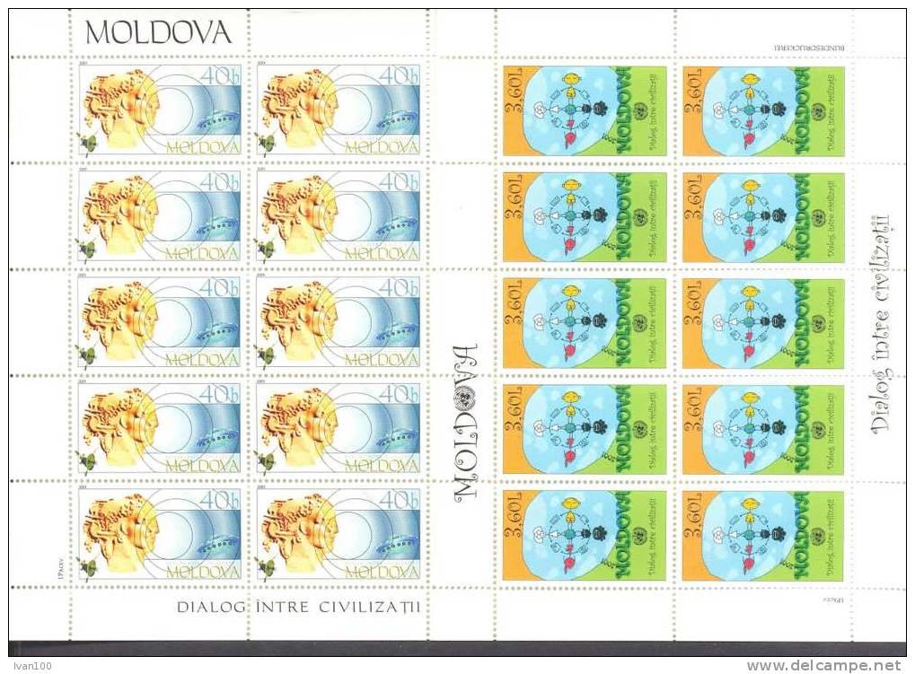 2001. Moldova, Dialog Of Civilizations, 2 Sheetlets Of 10v,mint/** - Moldavie
