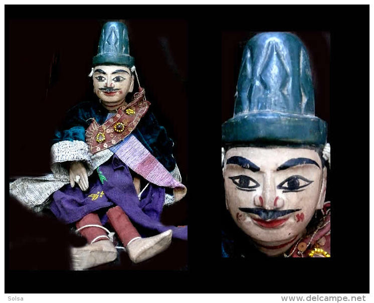 Marionnetteà Fils  De Ministre Birman Wun-Gyi-lay-Bar /Wooden Burmese Puppet - Art Populaire