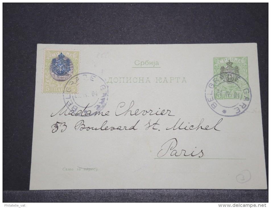 BULGARIE - Entier Avec Complément D'affr. Pour Paris - Avril 1904 - A Voir - P16784 - 1879-08 Principalty