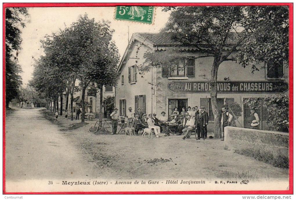 CPA 69 MEYZIEU Avenue De La Gare - Hôtel Jacquemin Meyzieux ( Au Rendez Vous Des Chasseurs - Meyzieu