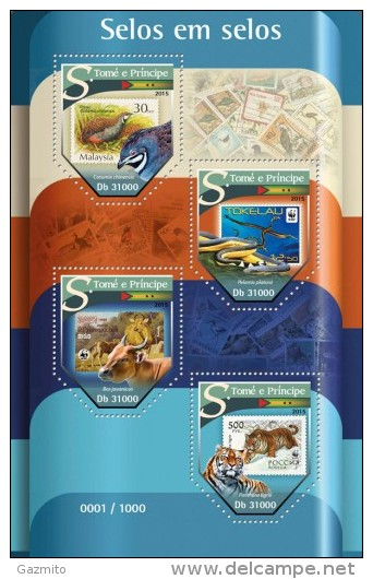 S. Tomè 2015, Stamp On Stamp, Bird, WWF, Snake, Tiger, 4val In BF - Unused Stamps