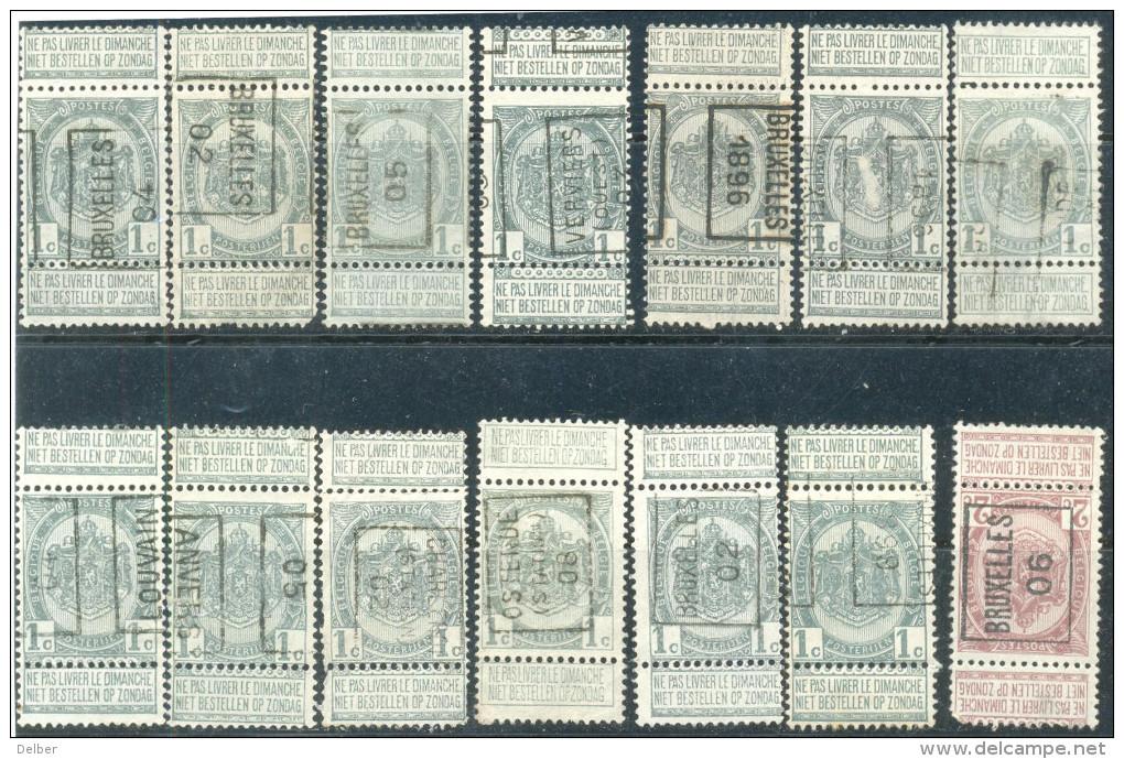 _5Ez-753: Restje 14 Zegels: Dubbel Tab's: Type WENDUINE .. Om Verder Uit Te Zoeken...oa Met N°1151: OSTENDE 5TATION 08 - Precancels
