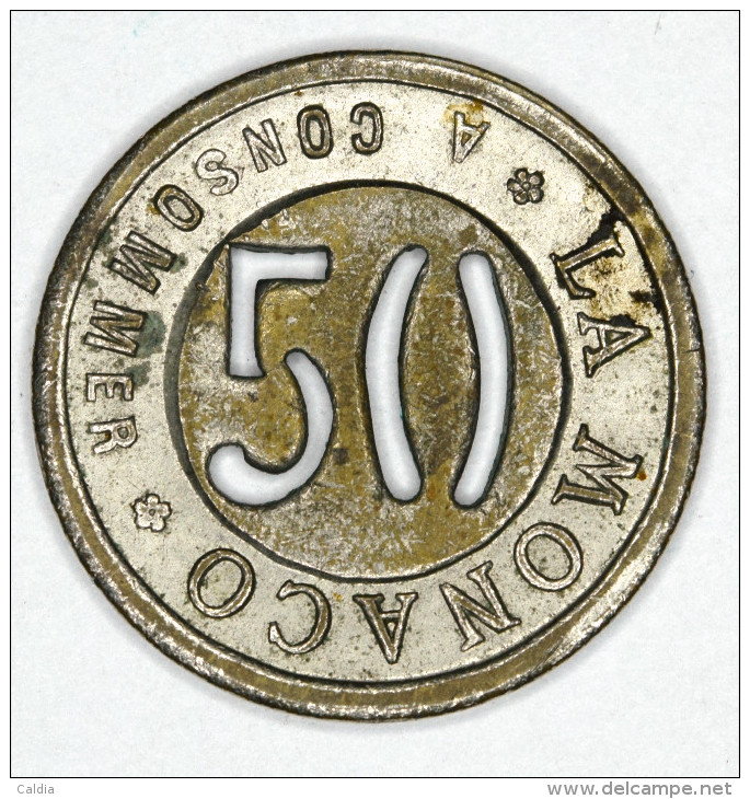 Monaco Jeton ~ 1920 Troué 50 Centimes # 1 - Monaco