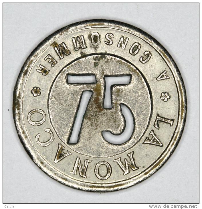 Monaco Jeton ~ 1920 Troué 75 Centimes # 2 - Monaco