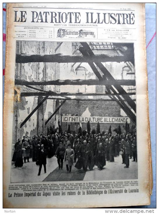 Le Patriote Illustré N°26 Du 26/06/1921 Louvain Loncin Bassenge Rhées  Herstal Liège Malines Vive Saint Bavon Horrues - Old Paper