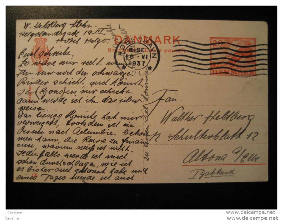Kobenhavn 1937 To Altona Germany Dolmen Menhir Prehistory Archeology Postal Stationery Card Denmark - 1913-47 (Christian X)