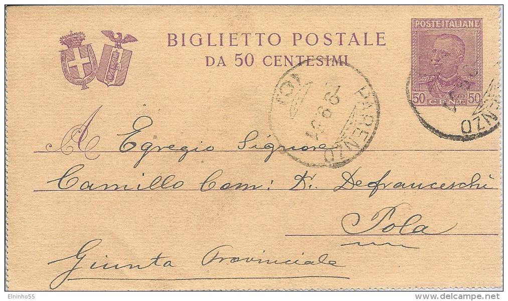 1931 Biglietto Postale C. 50 Da Parenzo Per Estero - Pola - 1900-44 Vittorio Emanuele III