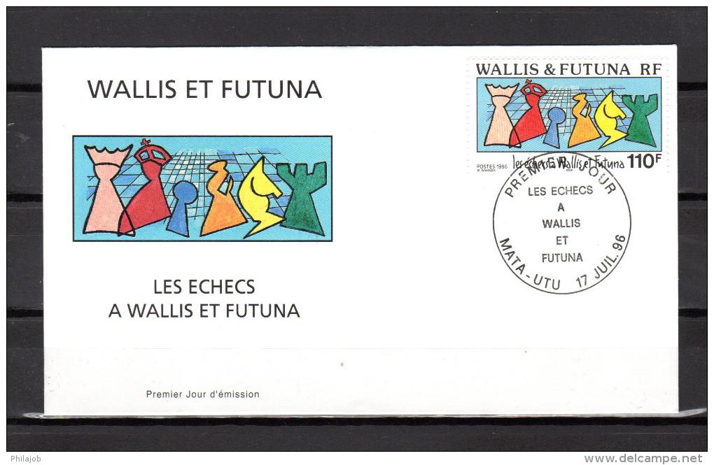 "WALLIS ET FUTUNA 1996 : Enveloppe 1er Jour "" LES ECHECS A WALLIS  / MATA - UTU Le 17-07-1996 "" N° YT 492. Parf état. FDC - Schaken"