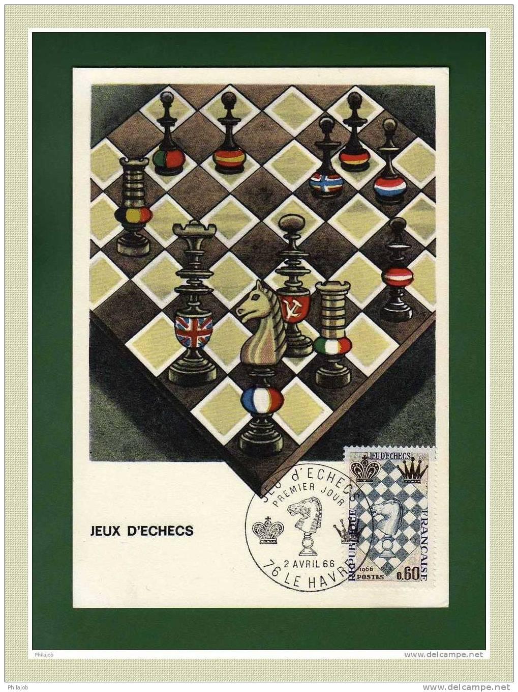 """CM 1966  """" Festival International D´échecs Au Havre """" Avec Le N° YT 1480 - Schaken"""