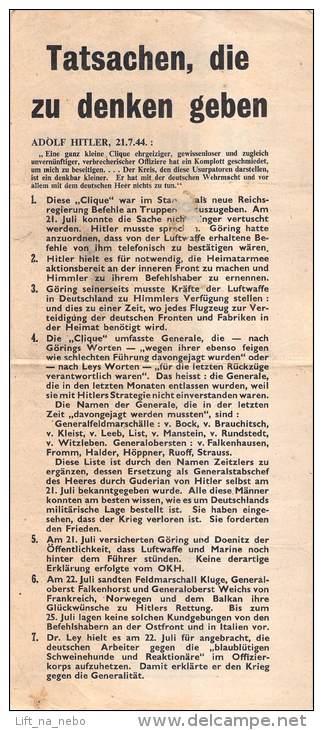 WWII WW2 Propaganda Tract Leaflet Flugblatt, Code XG17, Tatsachen, Die Zu Denken Geben, FREE SHIPPING WORLDWIDE - Vieux Papiers