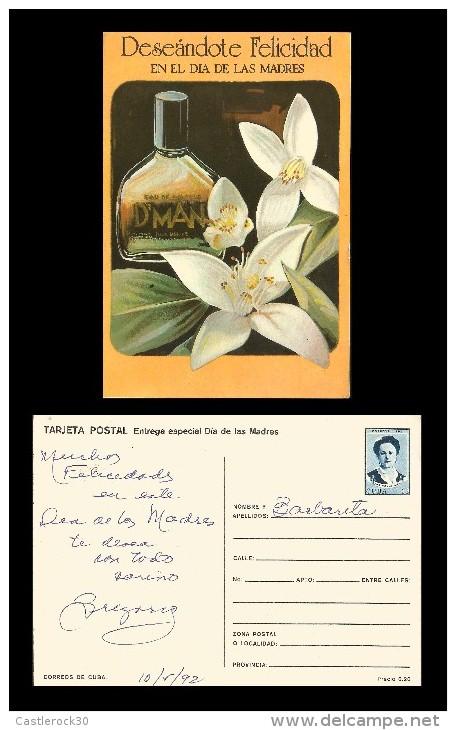 E)1992 CUBA, MOTHER'S DAY, BOTTLE, FLOWERS, ANA BETANCOURT, PATRIOT, POSTCARD - Kuba