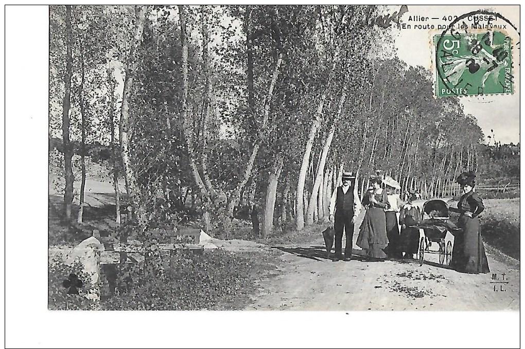 03 -  CPA  De  CUSSET  -  Promeneurs  En  Route  Pour  Les  Malavaux  ( Animée ) - Frankrijk