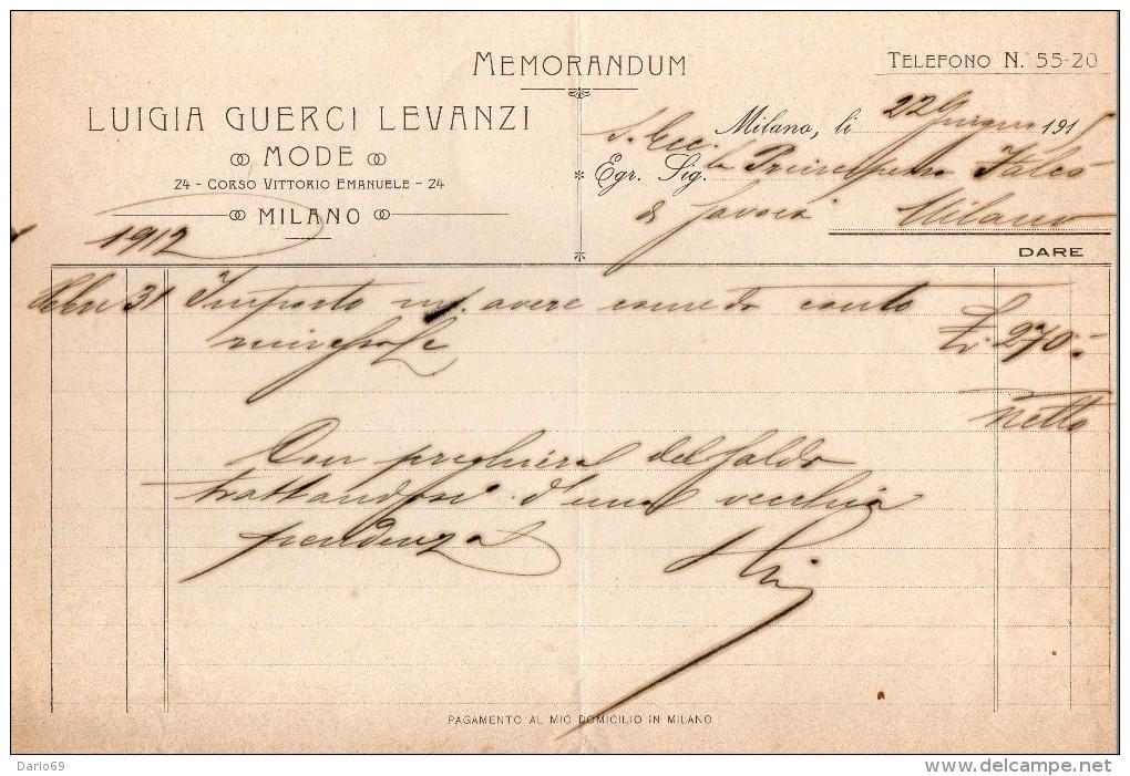 1915 MILANO - LUIGIA GUERCI LEVANZI MODE - Italia