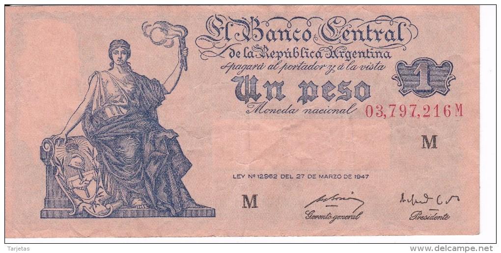 BILLETE DE ARGENTINA DE 1 PESO LEY Nº12962 DE 27 DE MARZO DEL 1947 SERIE M  (BANKNOTE) DIFERENTES FIRMAS - Argentina