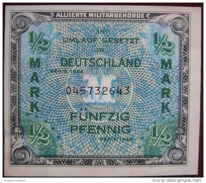 1/2 Mark 50 Pfennig 1944 (WPM 191a) Alliierte Militärbehörde - [ 5] 1945-1949 : Allies Occupation