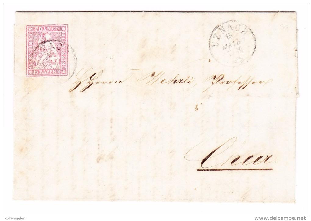 Heimat SG UZNACH 15.5.1860 Mit 15Rp. Strubel #24G Brief Nach Chur - Lettres & Documents