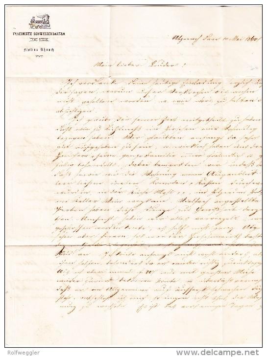 Heimat SG UZNACH 15.5.1860 Mit 15Rp. Strubel #24G Brief Nach Chur - 1854-1862 Helvetia (Non-dentelés)