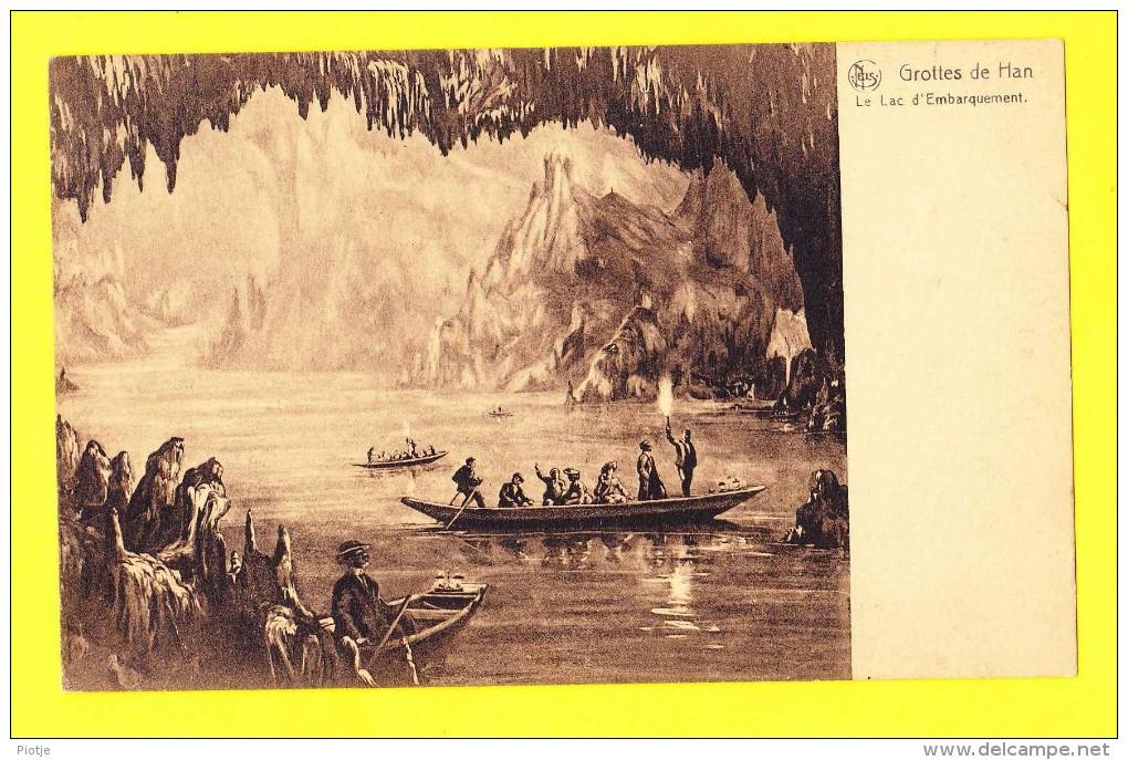 * Grottes De Han (Rochefort - Namur - La Wallonie) * (Nels, Nr 6) Le Lac D'embarquement, Bateau, Grot, CPA, Boat - Rochefort