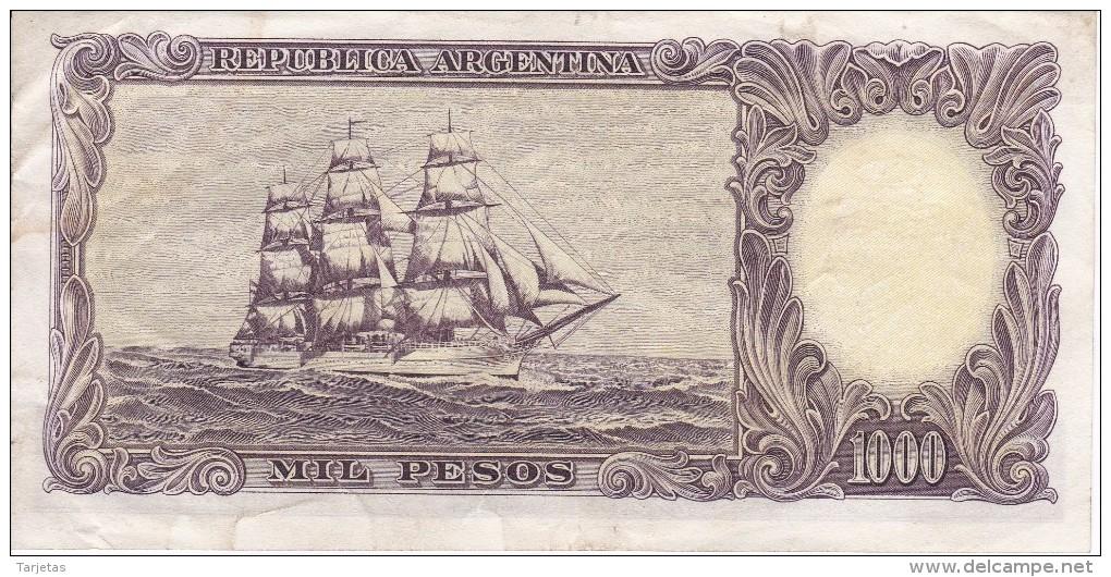BILLETE DE ARGENTINA DE 1000 PESOS AÑOS 1955 A 1965 EN CALIDAD MBC (VF)  (BANKNOTE) DIFERENTES FIRMAS (BARCO-SHIP) - Argentina