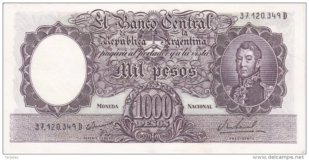 BILLETE DE ARGENTINA DE 1000 PESOS AÑOS 1966 A 1969 EN CALIDAD EBC (XF)  (BANKNOTE) DIFERENTES FIRMAS (BARCO-SHIP) - Argentina