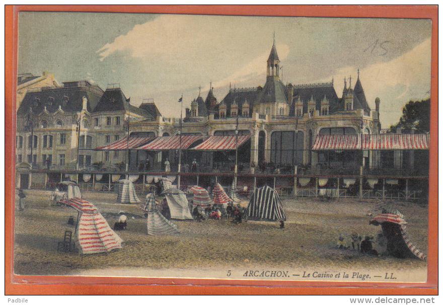 Carte Postale 33. Arcachon  Le Casino Et La Plage   Trés Beau Plan - Arcachon