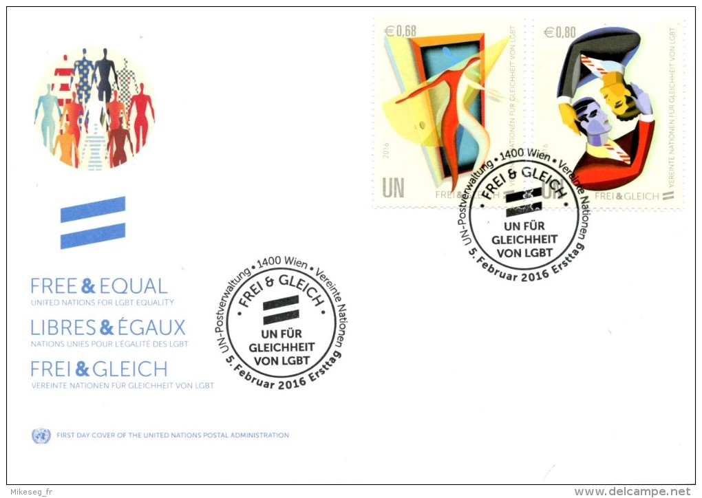 ONU Vienne 2016 - FDC Combo Frei & Gleich - FDC