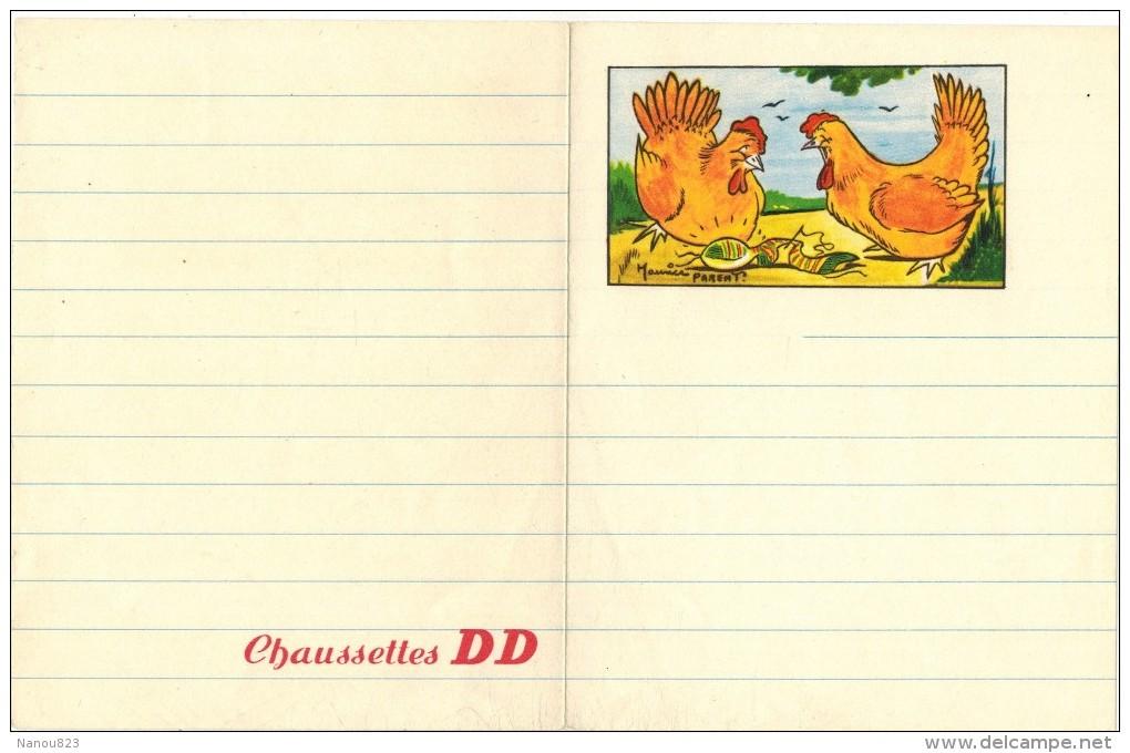 CHAUSSETTES DD : Rare Encart Publicitaire De Carnet Ligné Illustré Maurice PARENT Litho Avec Poules Et Chaussette - Produits Pharmaceutiques