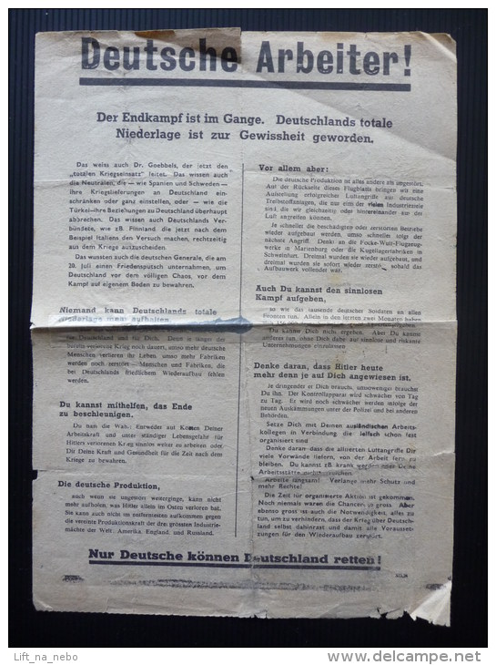 WWII WW2 Propaganda Leaflet Tract Flugblatt, Code XG.26, Deutsche Arbeiter!, FREE SHIPPING WORLDWIDE - Vieux Papiers