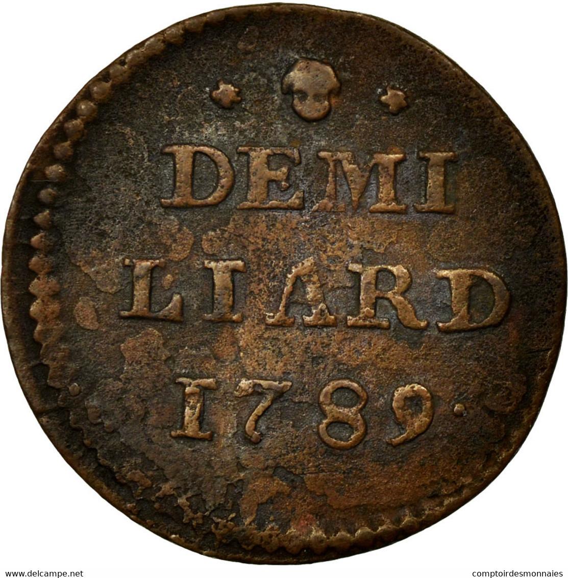 Monnaie, Luxembourg, Joseph II, 1/2 Liard, 1789, Bruxelles, TTB, Cuivre, KM:10 - Luxembourg