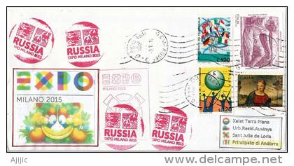 """RUSSIE.EXPO MILANO 2015.""""NOURRIR LA PLANETE"""" Belle Lettre Du Pavillon De La Fédération De RUSSIE à MILAN, - 1992-.... Fédération"""