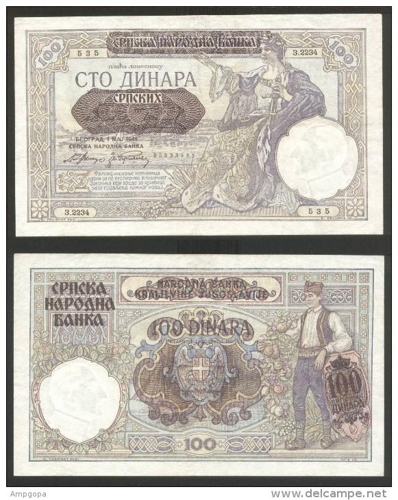 Serbia 100 Dinara 1941 Pick 23 UNC - Serbia