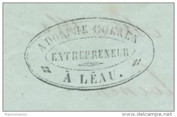 211/24 - Lettre Précurseur Cachet Type 18 LEAU 2 Avril 1852 (TARDIF) - Cachet Ad. Coenen , Entrepreneur - 1830-1849 (Belgique Indépendante)