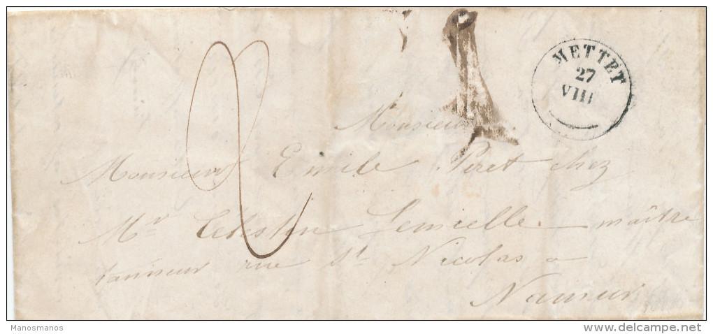 212/24 - Lettre Précurseur Cachet Type 18 METTET 1849 Vers NAMUR - Port à L'encre 2 Décimes - 1830-1849 (Belgique Indépendante)