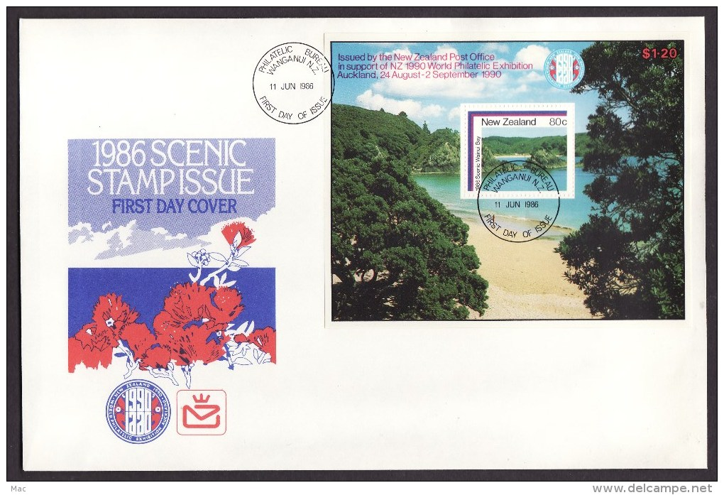 New Zealand #853a S/sheet F-VF Unaddressed Cacheted FDC - Scenery (1986) - FDC
